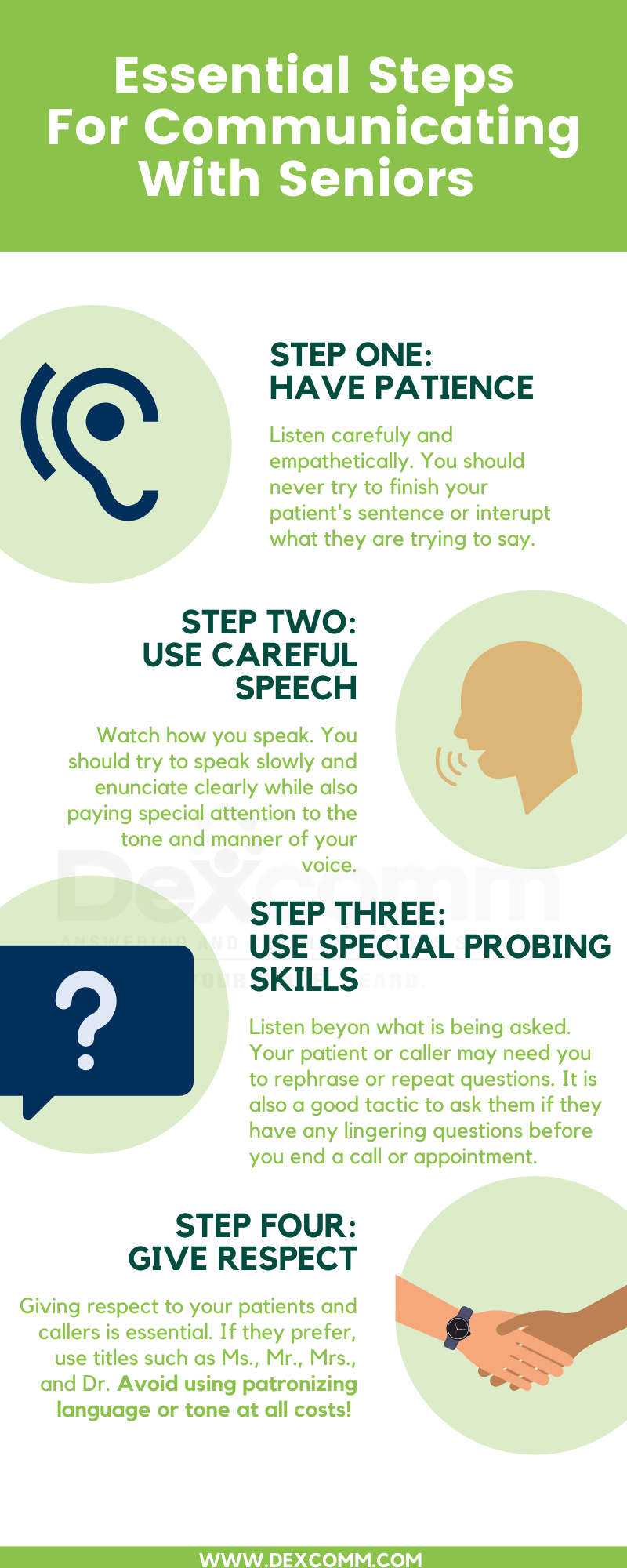 Essential steps when speaking to elderly callers