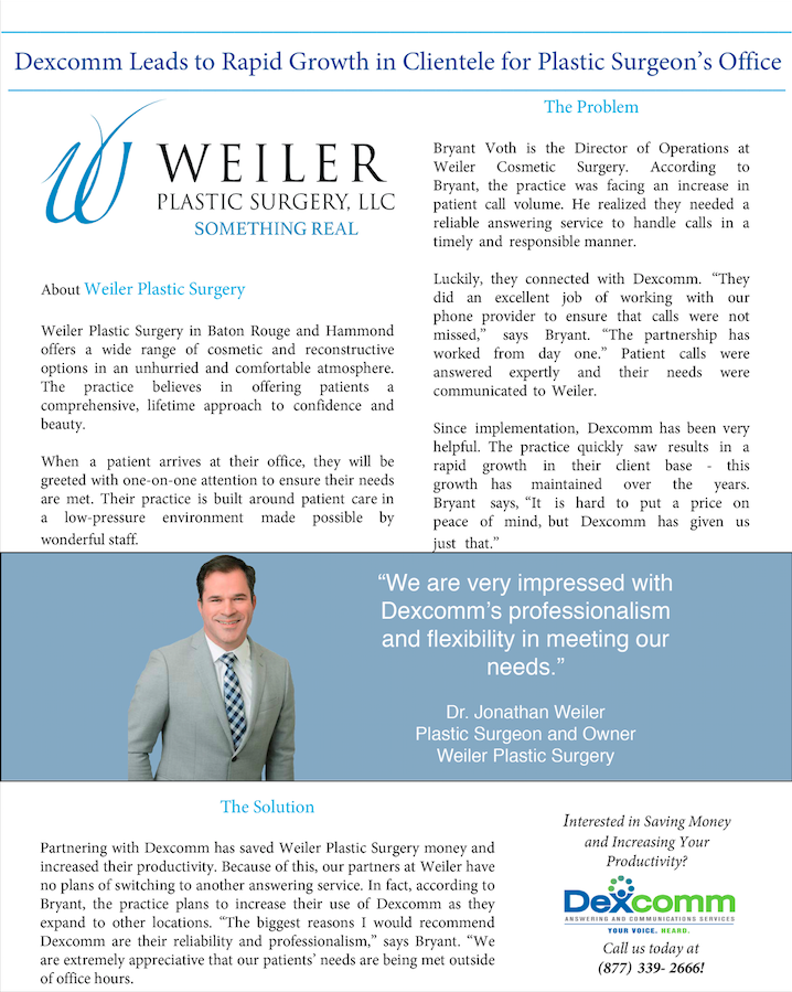 Dexcomm Leads to Rapid Growth in Clientele for Plastic Surgeon's Office