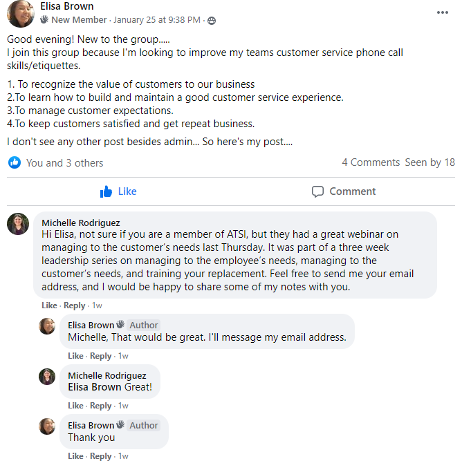 example of customer service fb group post
